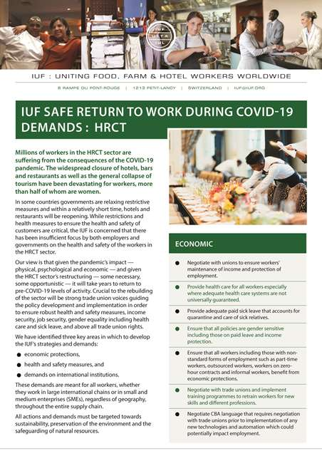 IUF Safe Return to Work during COVID-19 Demands: HRCT